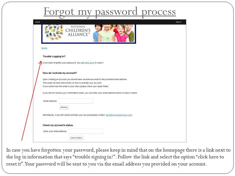 Forgot my password process