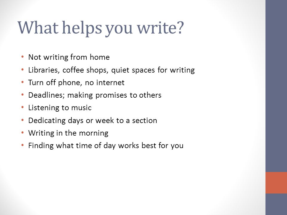 What helps you write Not writing from home