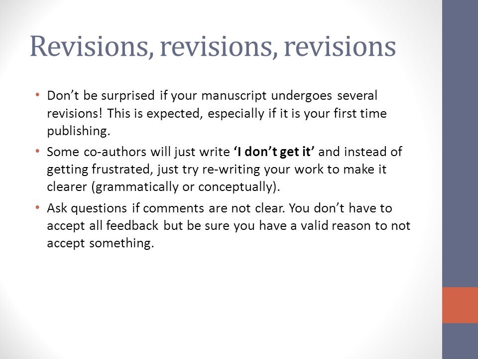 Revisions, revisions, revisions