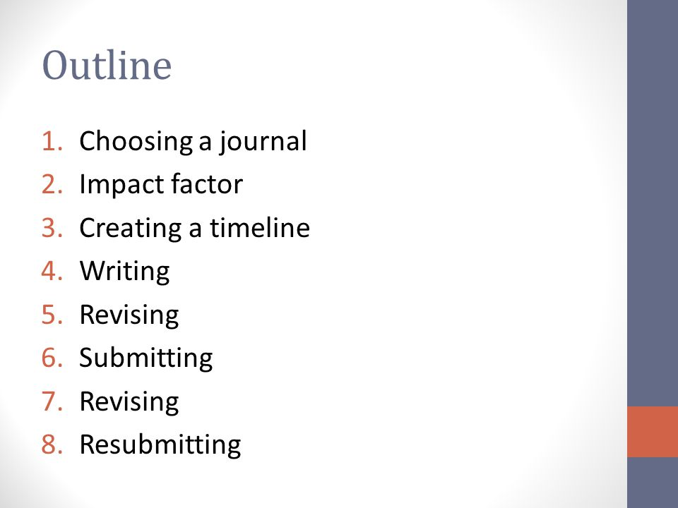 Outline Choosing a journal Impact factor Creating a timeline Writing