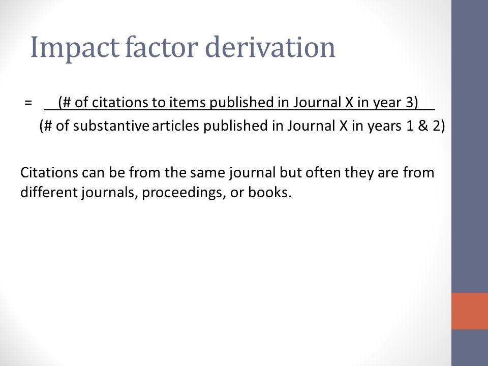 Impact factor derivation