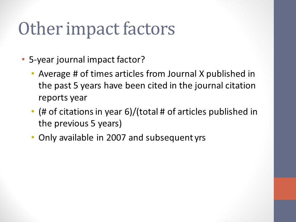 Other impact factors 5-year journal impact factor