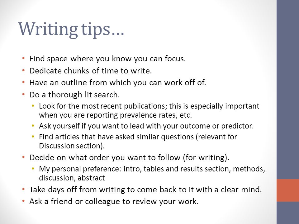 Writing tips… Find space where you know you can focus.
