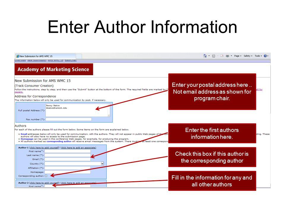 Enter Author Information