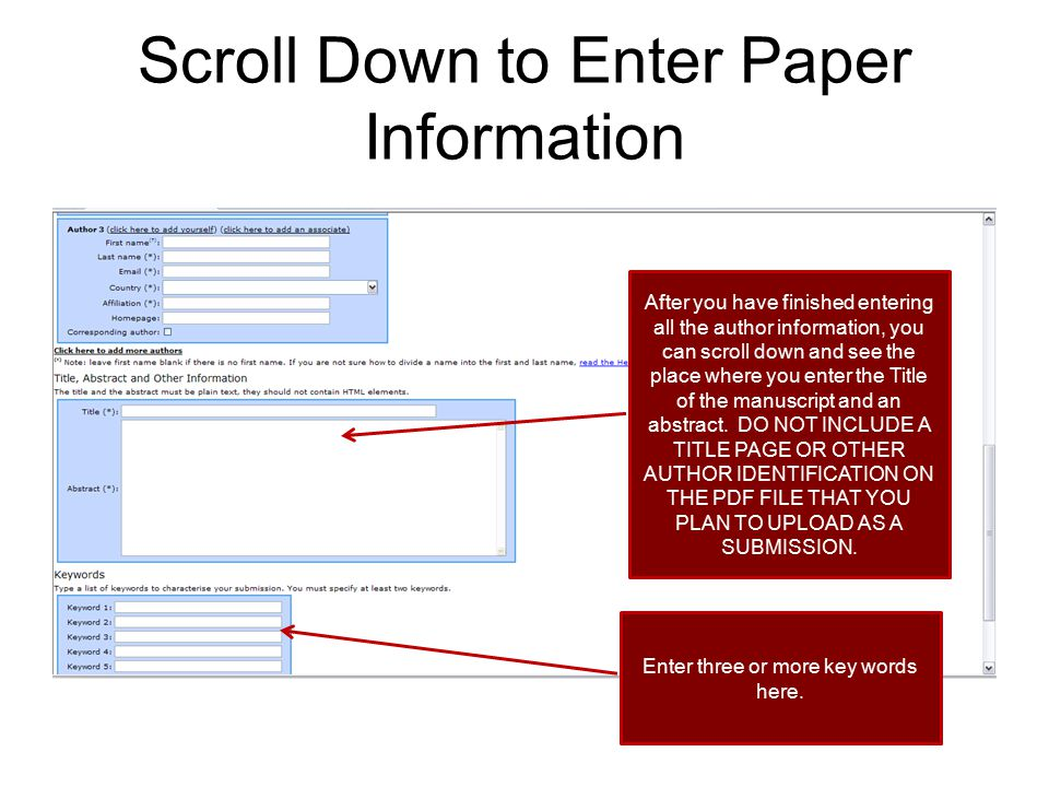 Scroll Down to Enter Paper Information
