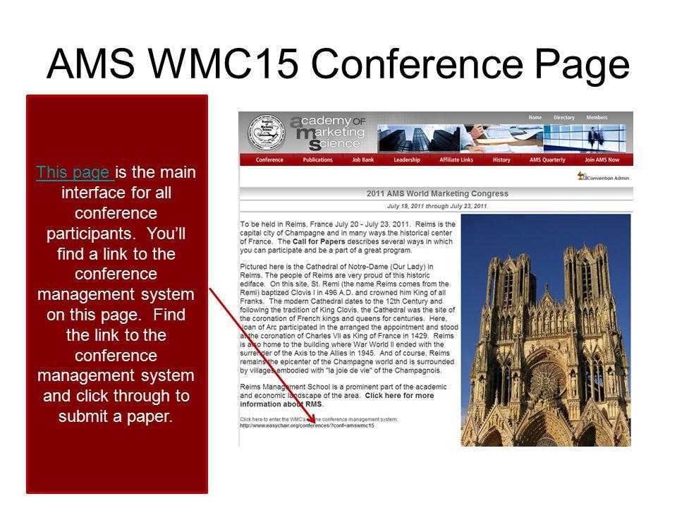 AMS WMC15 Conference Page