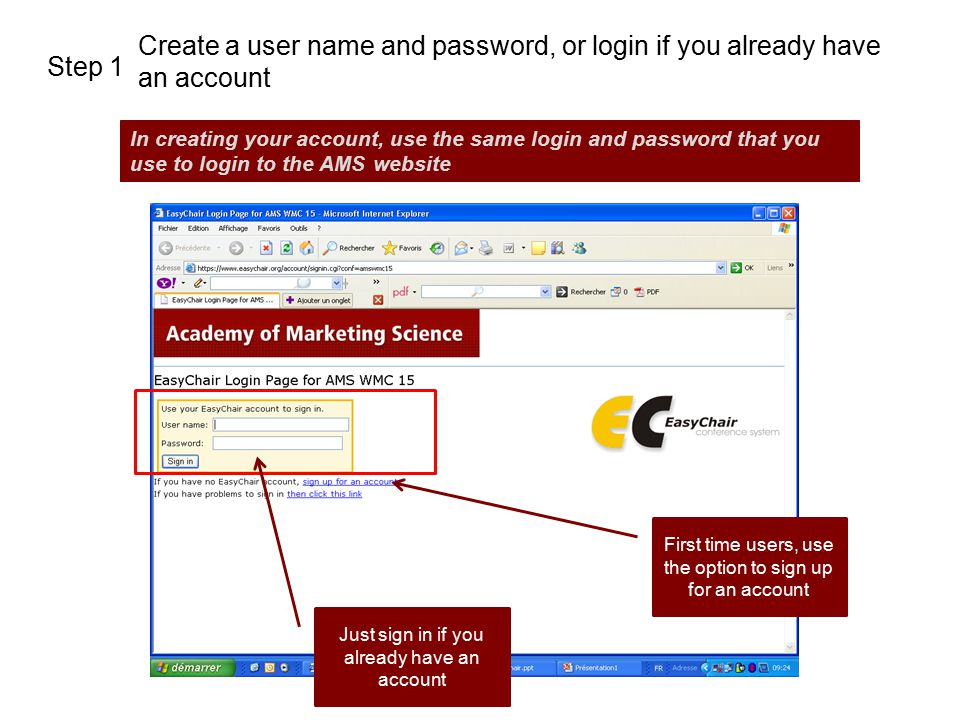 Create a user name and password, or login if you already have an account