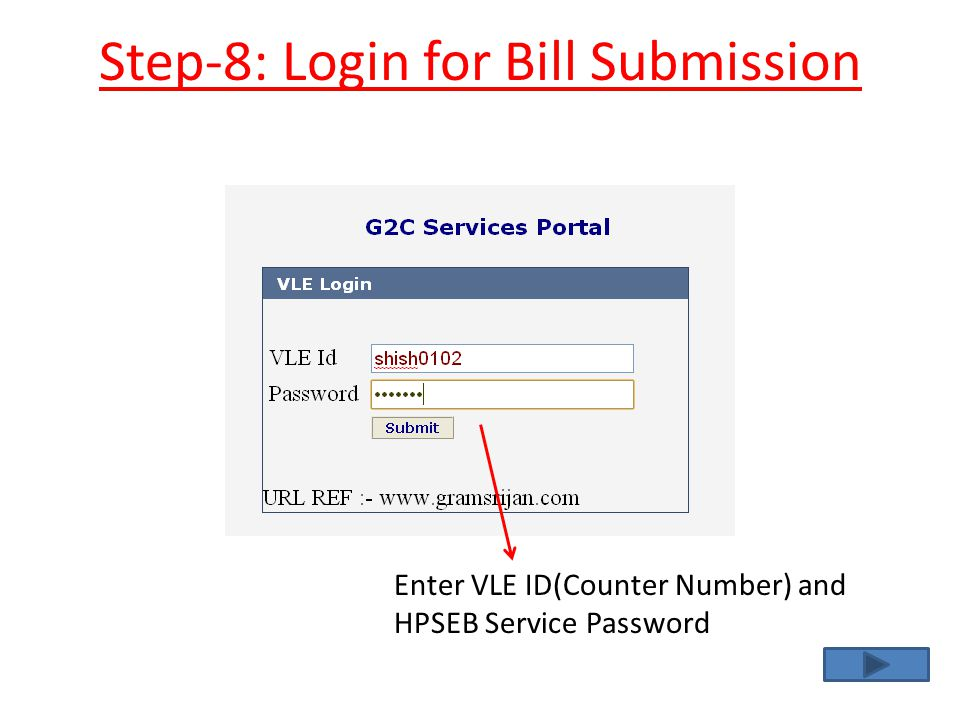 Step-8: Login for Bill Submission