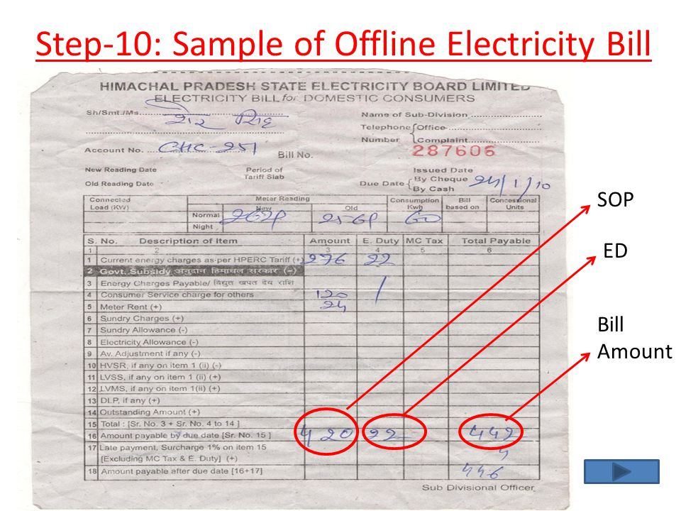 Step-10: Sample of Offline Electricity Bill