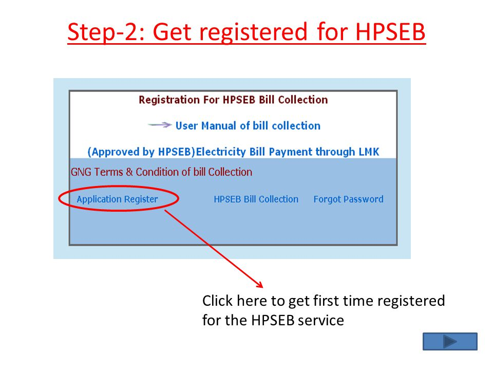 Step-2: Get registered for HPSEB
