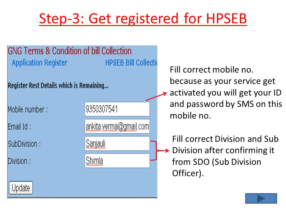Step-3: Get registered for HPSEB