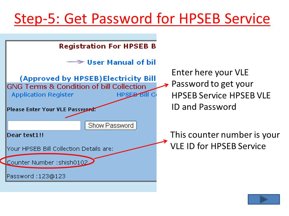 Step-5: Get Password for HPSEB Service