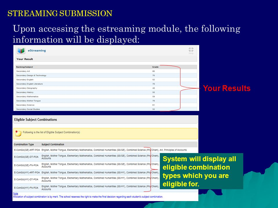 STREAMING SUBMISSION Upon accessing the estreaming module, the following information will be displayed: