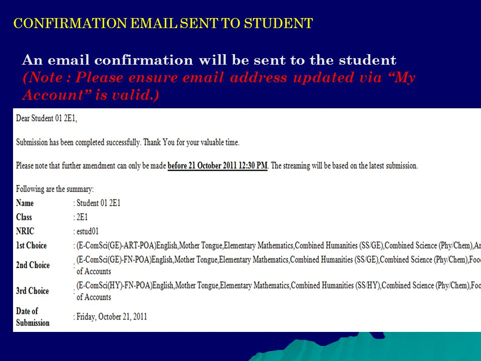 CONFIRMATION EMAIL SENT TO STUDENT
