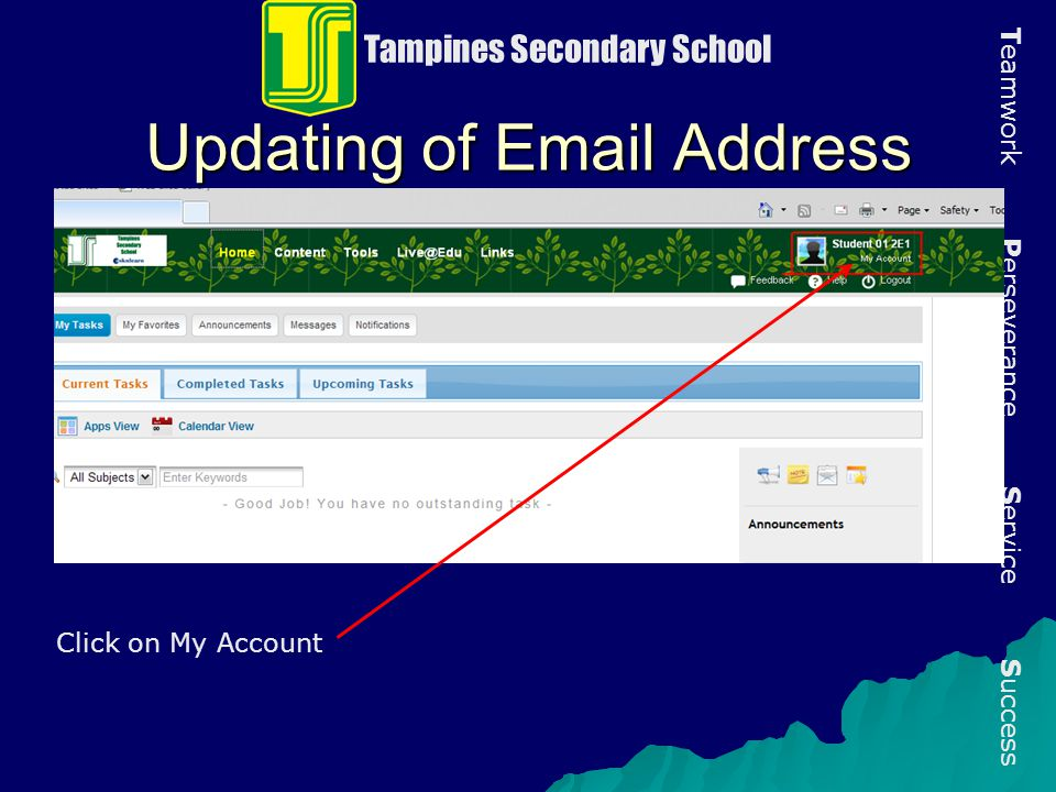 Updating of Email Address
