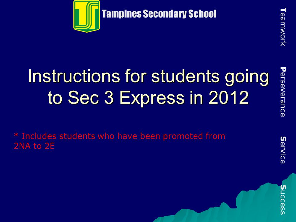 Instructions for students going to Sec 3 Express in 2012