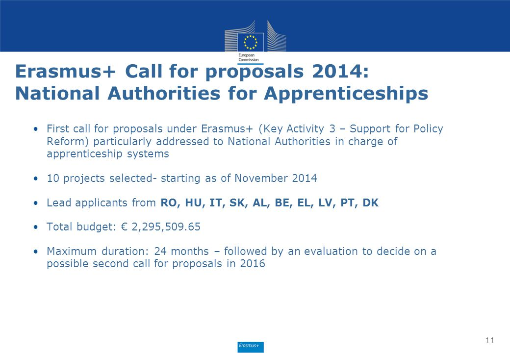 Erasmus+ Call for proposals 2014: National Authorities for Apprenticeships