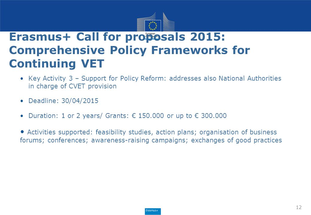 Erasmus+ Call for proposals 2015: Comprehensive Policy Frameworks for Continuing VET