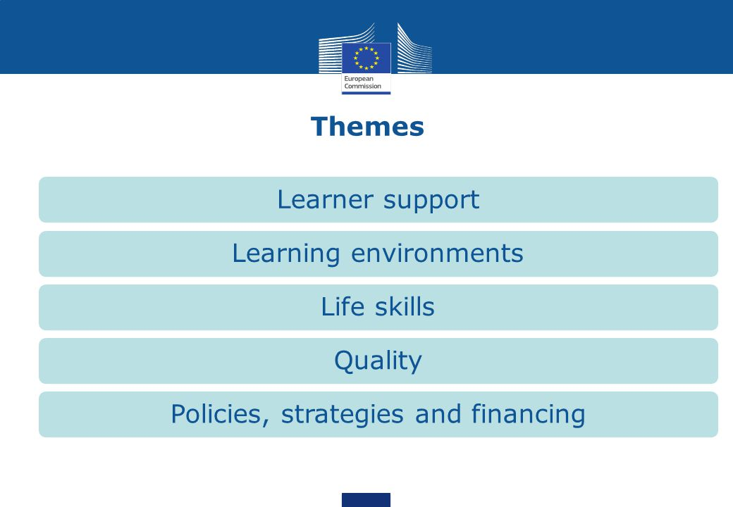 Themes Learner support Learning environments Life skills Quality