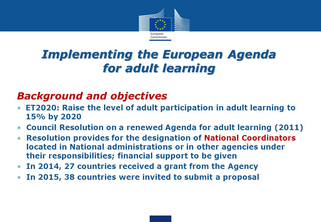 Implementing the European Agenda for adult learning