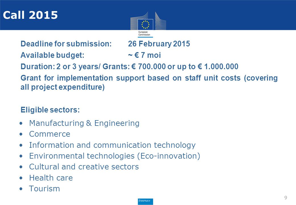 Call 2015 Deadline for submission: 26 February 2015