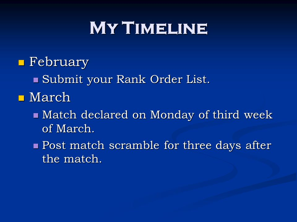 My Timeline February March Submit your Rank Order List.
