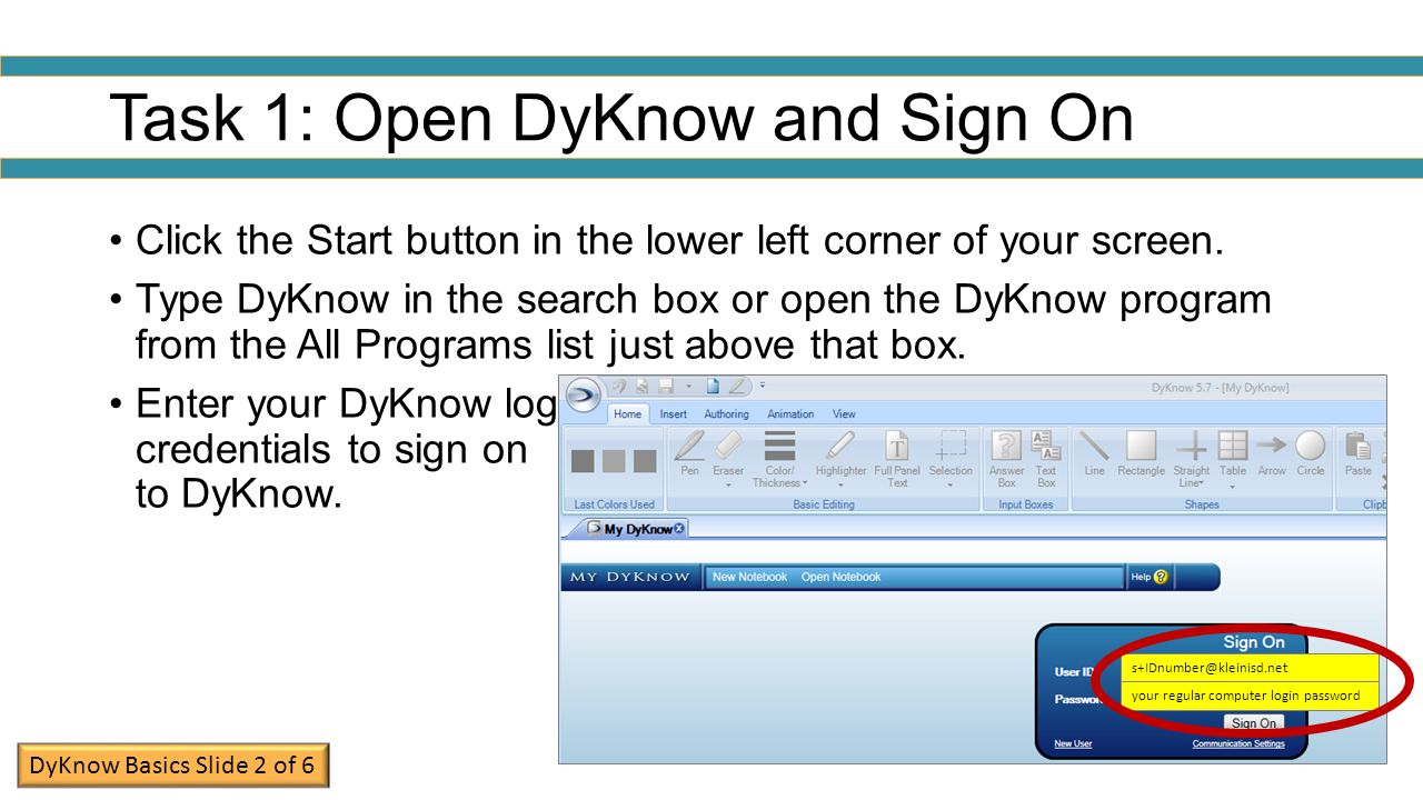 Task 1: Open DyKnow and Sign On