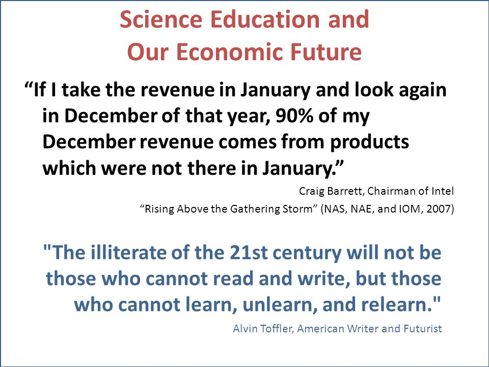 Science Education and Our Economic Future