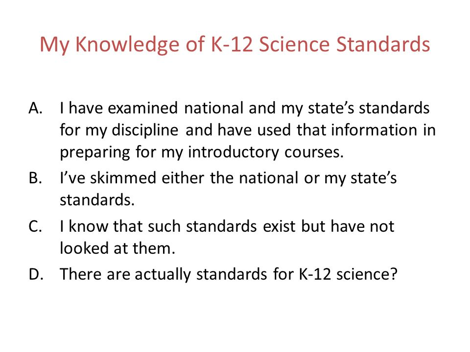 My Knowledge of K-12 Science Standards