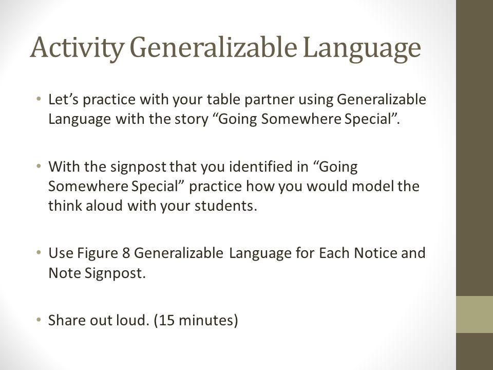 Activity Generalizable Language