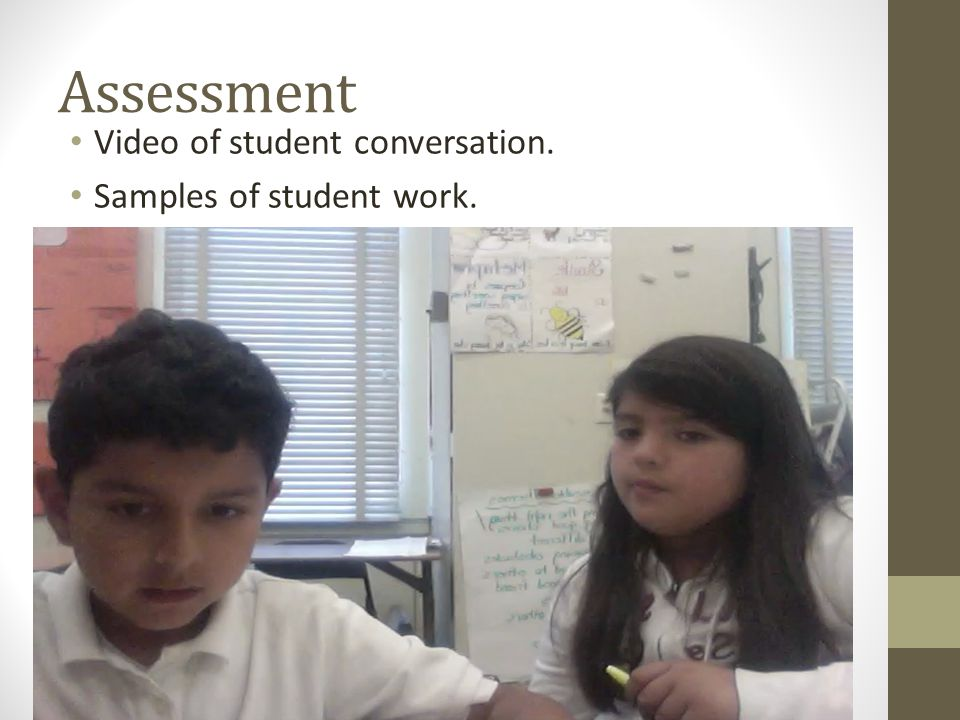 Assessment Video of student conversation. Samples of student work.