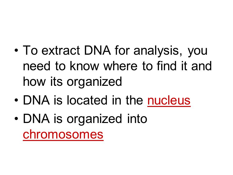 To extract DNA for analysis, you need to know where to find it and how its organized