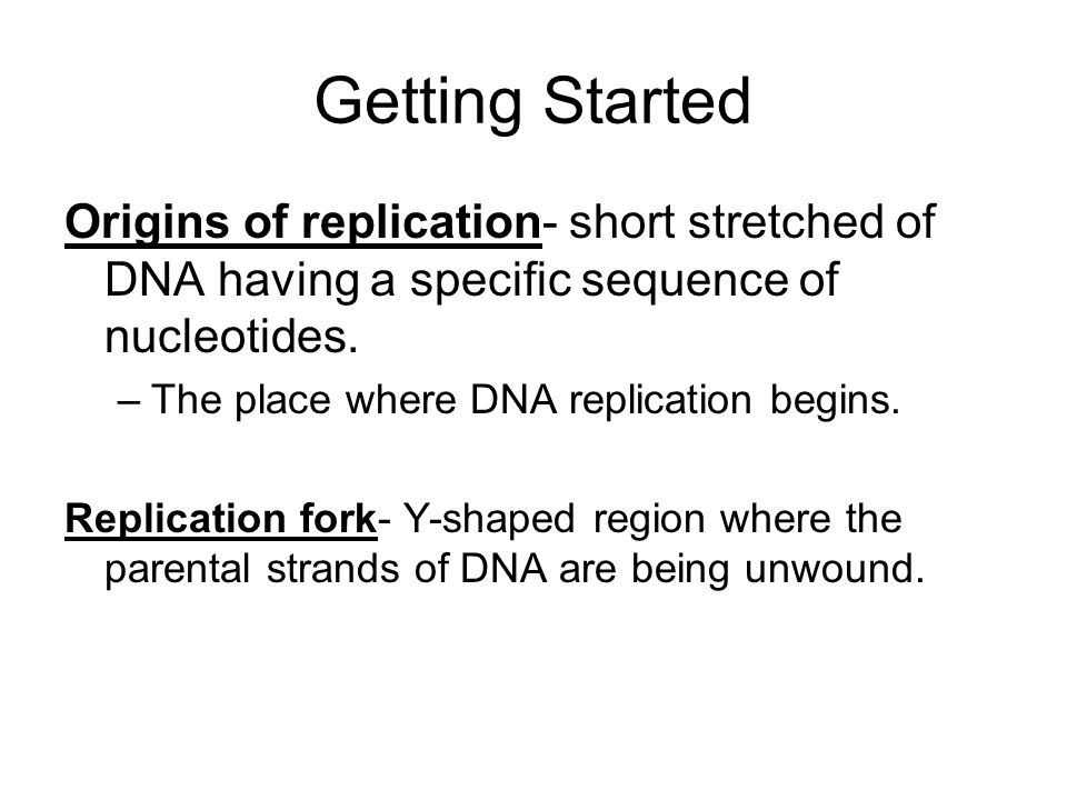 Getting Started Origins of replication- short stretched of DNA having a specific sequence of nucleotides.
