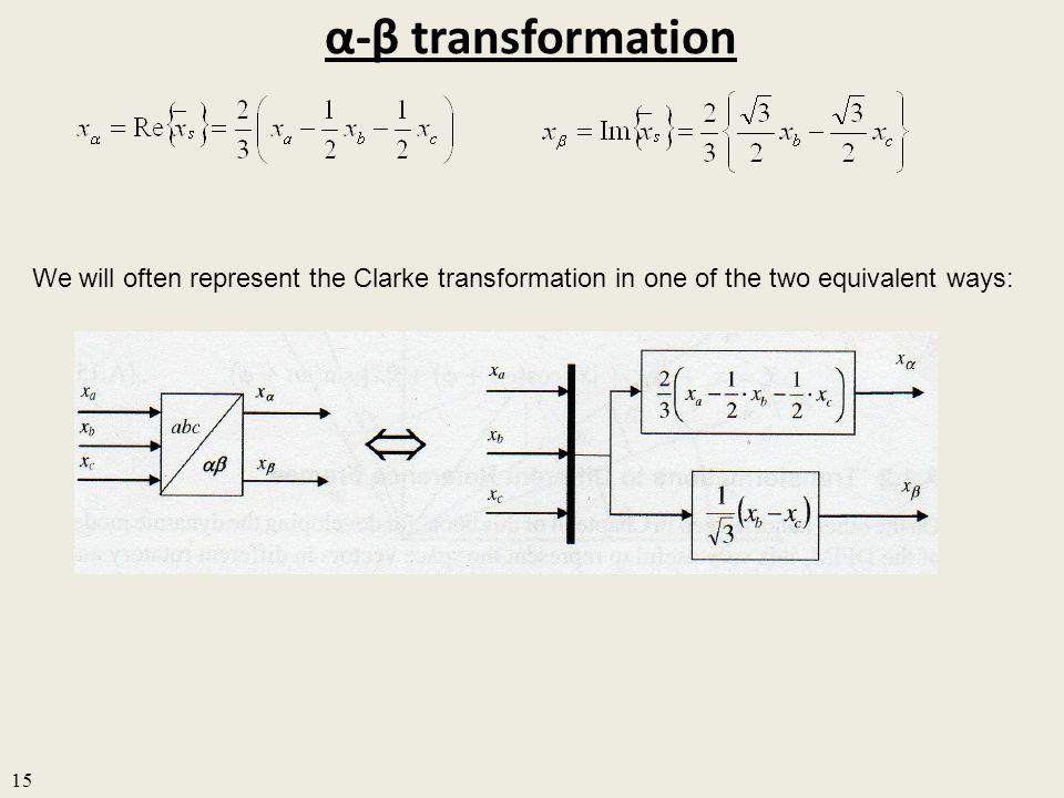 α-β transformation We will often represent the Clarke transformation in one of the two equivalent ways: