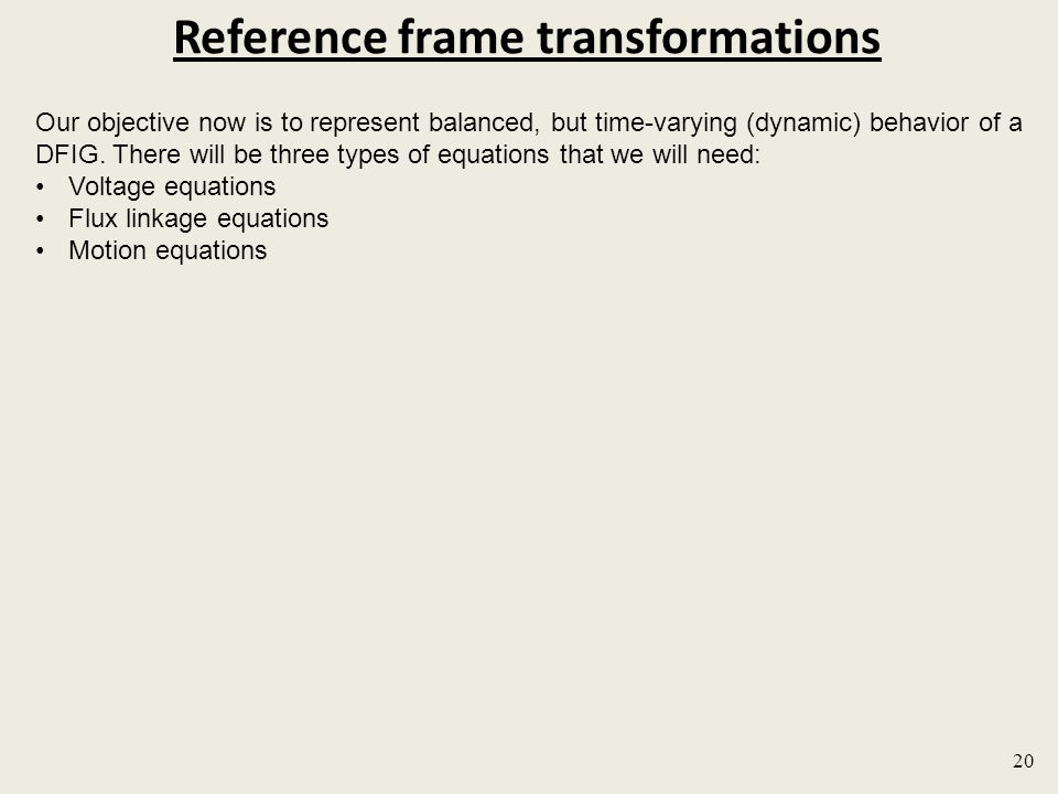 Reference frame transformations