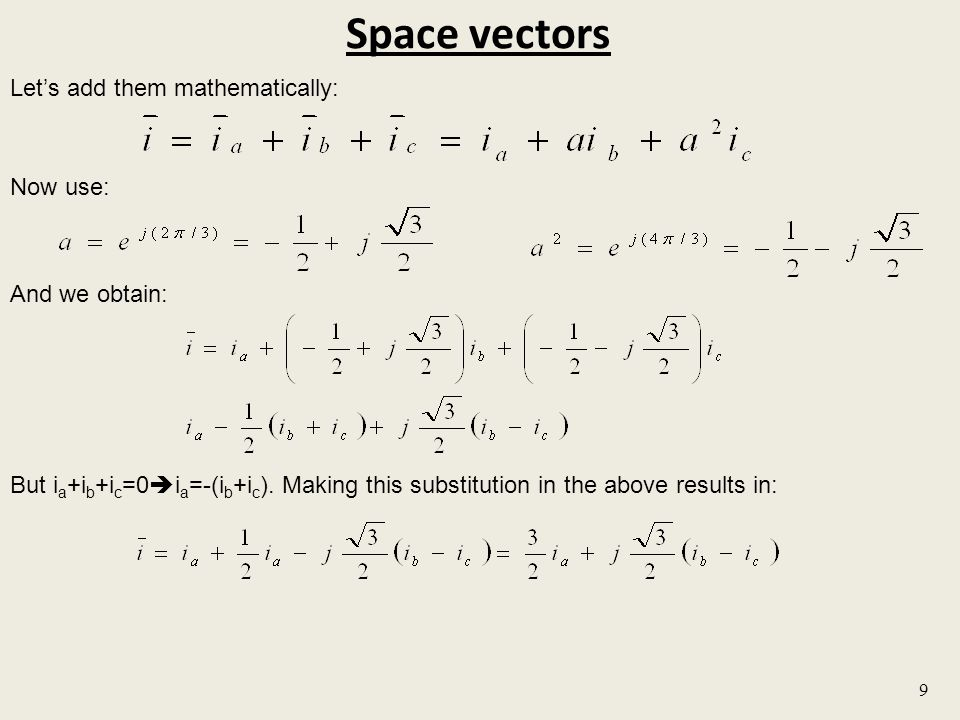 Space vectors Let's add them mathematically: Now use: And we obtain:
