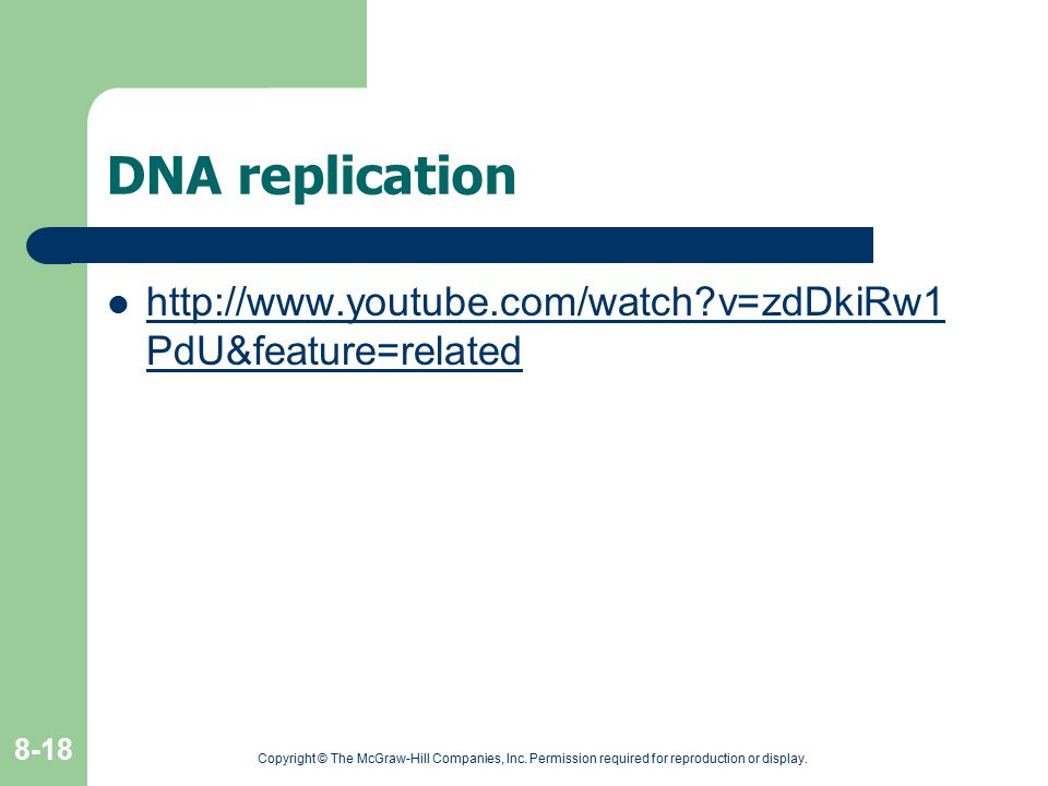 DNA replication http://www.youtube.com/watch v=zdDkiRw1PdU&feature=related.