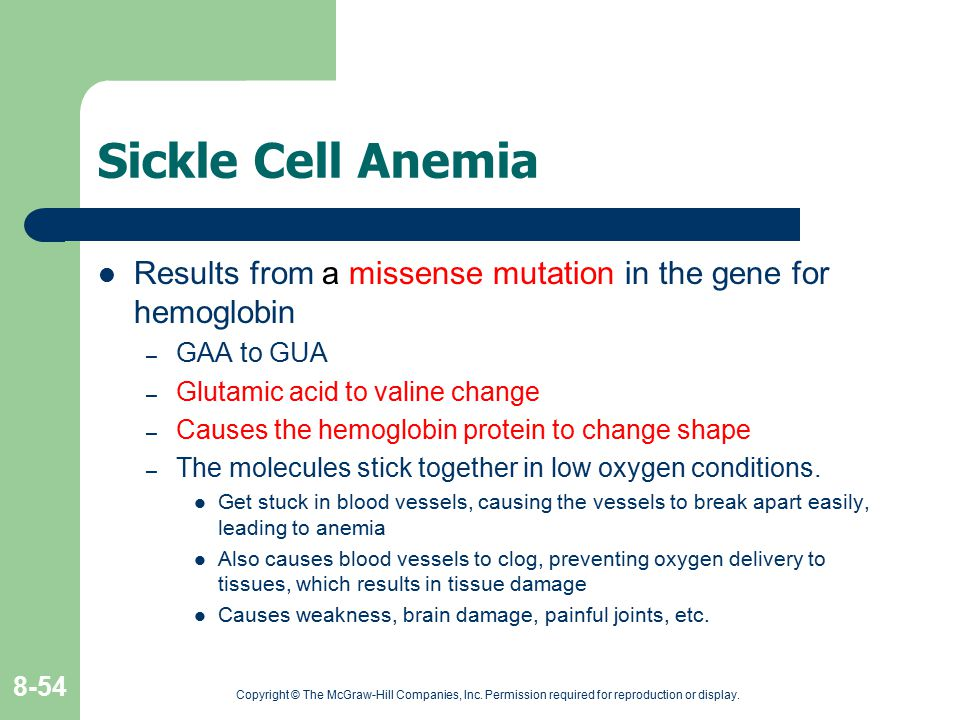 Sickle Cell Anemia Results from a missense mutation in the gene for hemoglobin. GAA to GUA. Glutamic acid to valine change.