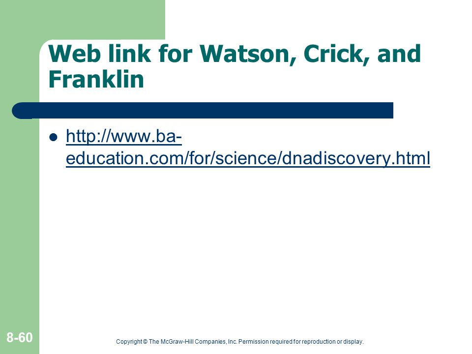 Web link for Watson, Crick, and Franklin