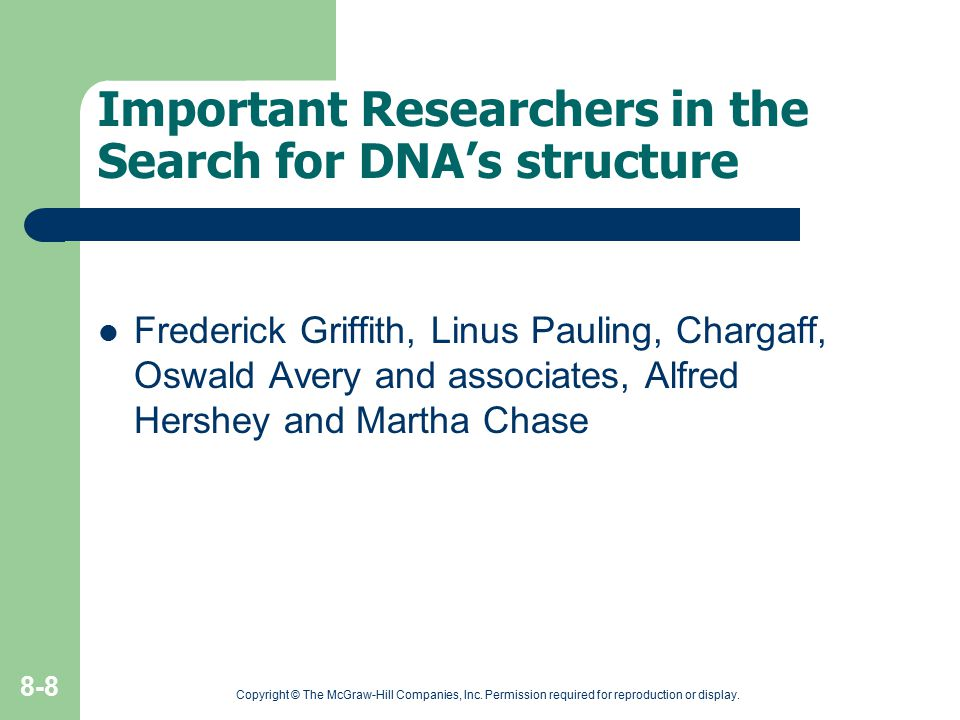 Important Researchers in the Search for DNA's structure