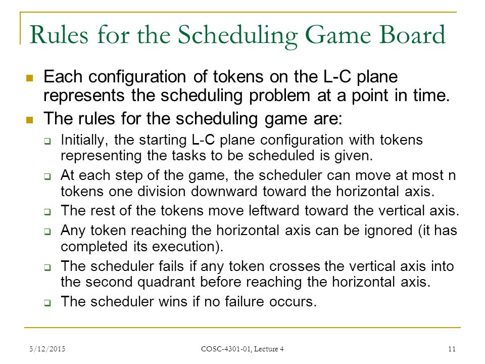 Rules for the Scheduling Game Board