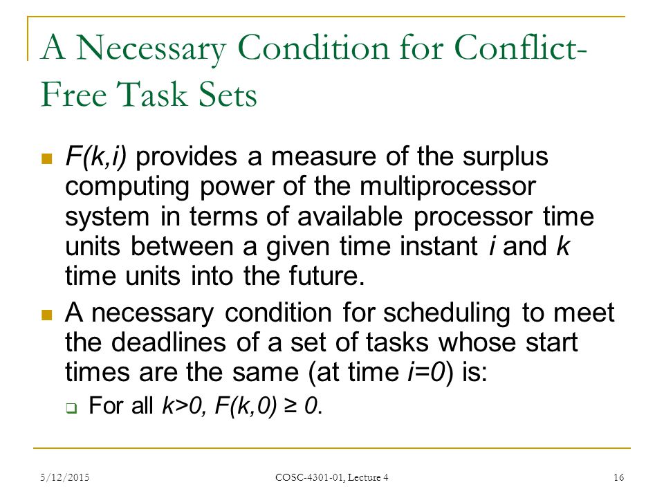 A Necessary Condition for Conflict-Free Task Sets