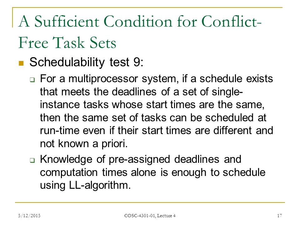 A Sufficient Condition for Conflict-Free Task Sets