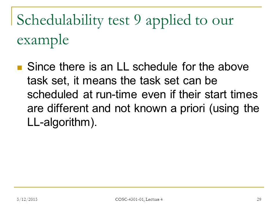 Schedulability test 9 applied to our example