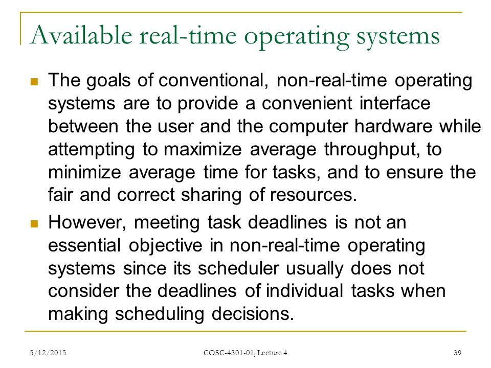 Available real-time operating systems