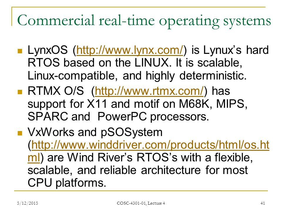 Commercial real-time operating systems