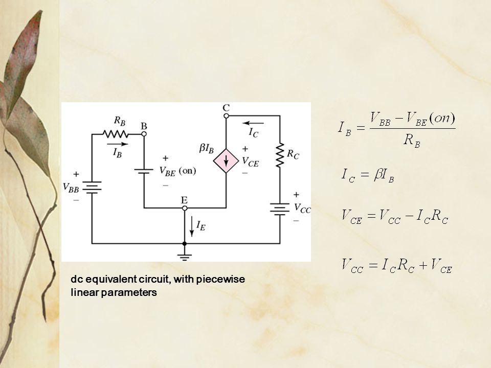 dc equivalent circuit, with piecewise linear parameters