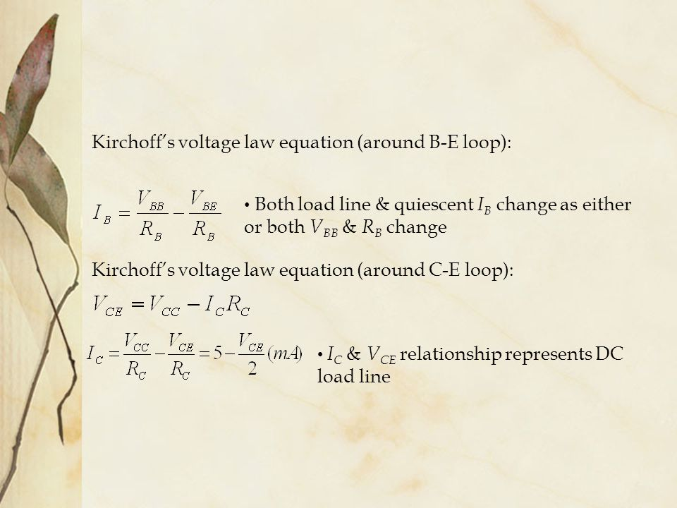 Kirchoff's voltage law equation (around B-E loop):
