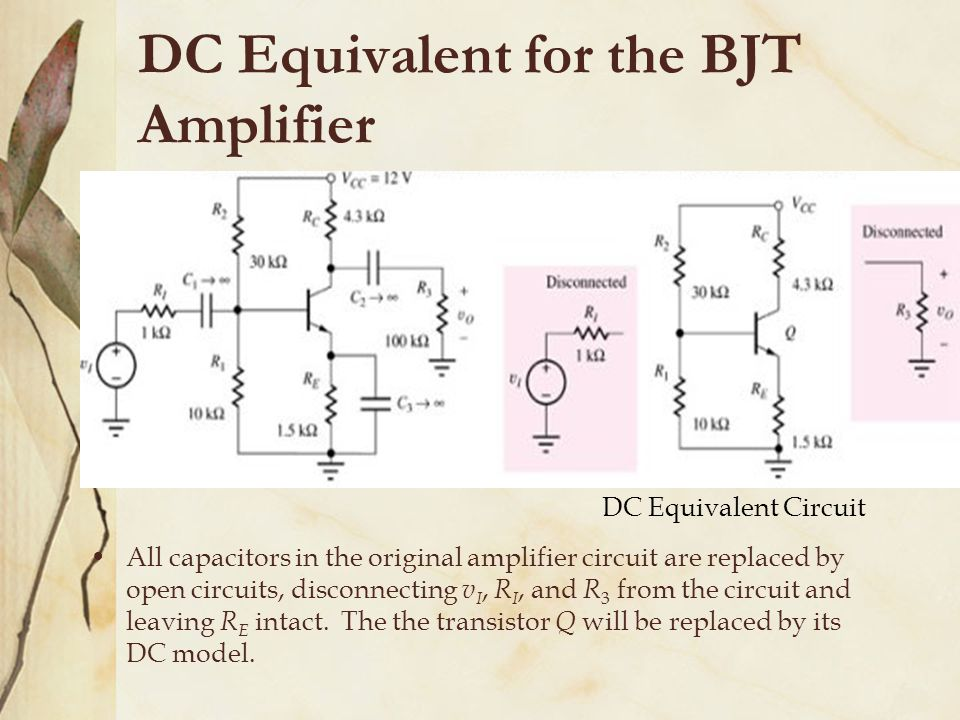 DC Equivalent for the BJT Amplifier