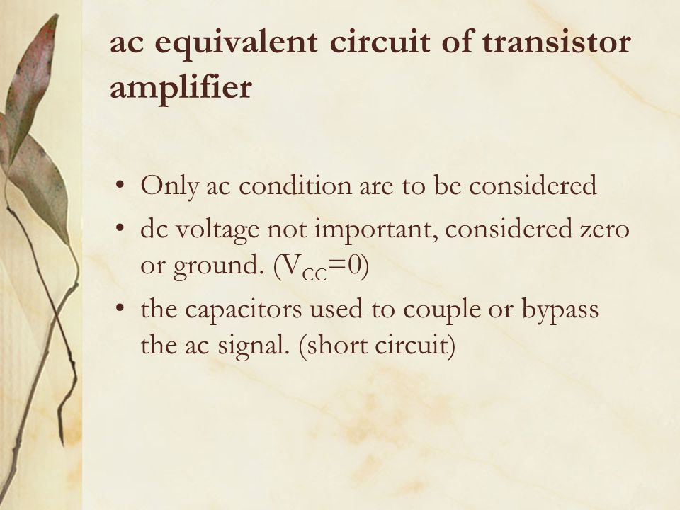 ac equivalent circuit of transistor amplifier